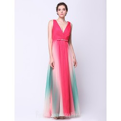 Australia Formal Dress Evening Gowns Multi-color A-line V-neck Ankle-length Chiffon