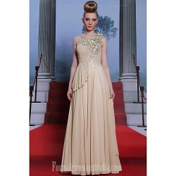 Australia Formal Dress Evening Gowns Champagne Plus Sizes Dresses A-line Princess Sexy One Shoulder Long Floor-length