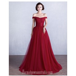Australia Formal Dress Evening Gowns Burgundy Ball Gown Off-the-shoulder Long Floor-length Satin Tulle