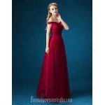 Australia Formal Dress Evening Gowns Burgundy Ball Gown Off-the-shoulder Long Floor-length Satin Tulle Formal Dress Australia