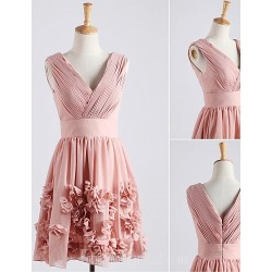 Australia Formal Dresses Cocktail Dress Party Dress Blushing Pink A Line V Neck Short Knee Length Chiffon