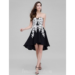 Australia Formal Dresses Cocktail Dress Party Dress Black A-line Sweetheart Asymmetrical Stretch Satin