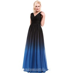 Australia Formal Dresses Cocktail Dress Party Dress Silver Multi-color Ocean Blue Ball Gown V-neck Long Floor-length Chiffon Charmeuse