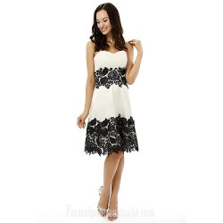 Australia Formal Dresses Cocktail Dress Party Dress White A-line Strapless Short Knee-length Satin