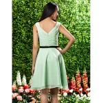Short Knee-length Chiffon Bridesmaid Dress Sage Plus Sizes Dresses Petite A-line Princess Square Formal Dress Australia