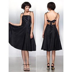 Australia Formal Dresses Cocktail Dress Party Dress Black A Line Spaghetti Straps Short Knee Length Taffeta