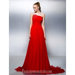 Australia Formal Dress Evening Gowns Ruby Plus Sizes Dresses Petite A-line Princess Sexy One Shoulder Court Train Georgette