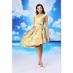 Australia Formal Dresses Cocktail Dress Party Dress Daffodil A-line V-neck Asymmetrical Organza Satin