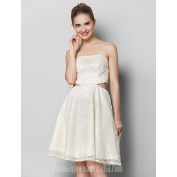 Australia Formal Dresses Cocktail Dress Party Dress Ivory A Line Strapless Short Knee Length Sequined