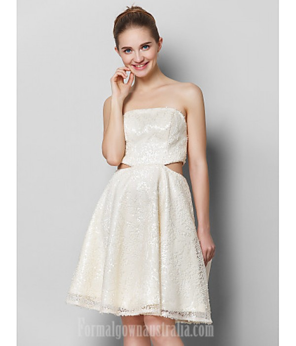 Australia Formal Dresses Cocktail Dress Party Dress Ivory A-line Strapless Short Knee-length Sequined Formal Dress Australia