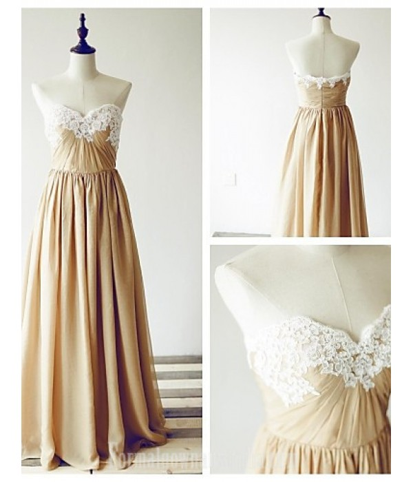 Australia Formal Dress Evening Gowns Champagne A-line Sweetheart Long Floor-length Chiffon Lace Formal Dress Australia