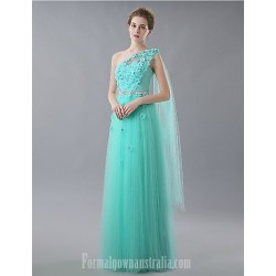 Australia Formal Dress Evening Gowns Sky Blue A-line Sexy One Shoulder Long Floor-length Tulle Dress