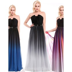 Australia Formal Dresses Cocktail Dress Party Dress Silver Multi Color Ocean Blue Ball Gown Notched Long Floor Length Chiffon Charmeuse