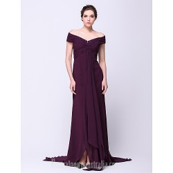 Australia Formal Dress Evening Gowns Grape A Line Off The Shoulder Court Train Chiffon