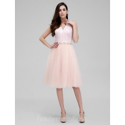 Australia Formal Dresses Cocktail Dress Party Dress Pearl Pink A-line Halter Short Knee-length Lace Tulle