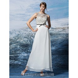 Australia Formal Dress Evening Gowns Multi Color Plus Sizes Dresses Petite A Line Jewel Ankle Length Chiffon Lace