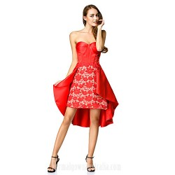 Australia Cocktail Party Dress Ruby A-line Sweetheart Asymmetrical Lace Satin
