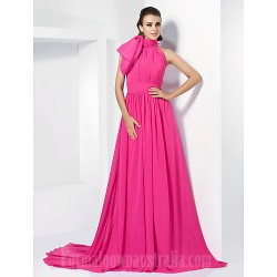 Australia Formal Dress Evening Gowns Fuchsia Plus Sizes Dresses Petite A-line Princess High Neck Court Train Chiffon