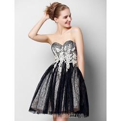 Australia Formal Dresses Cocktail Dress Party Dress Black A Line Sweetheart Short Knee Length Tulle