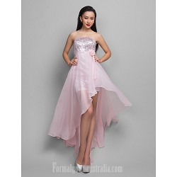 Australia Cocktail Party Dresses Holiday Dress Candy Pink Plus Sizes Dresses Petite A-line Strapless Asymmetrical Chiffon Sequined