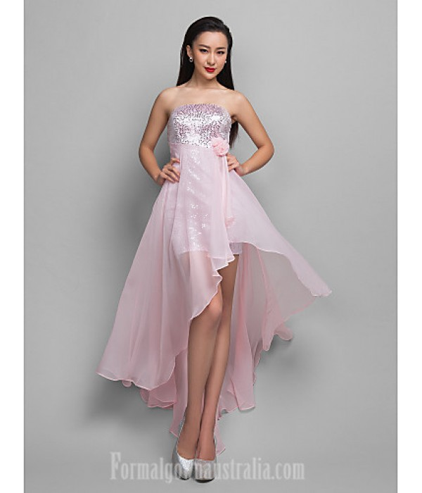 Australia Formal Dresses Cocktail Dress Party Dress Holiday Dress Candy Pink Plus Sizes Dresses Petite A-line Strapless Asymmetrical Chiffon Sequined Formal Dress Australia