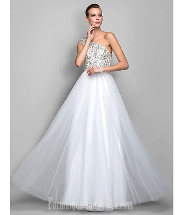 Australia Formal Dress Evening Gowns Prom Gowns Military Ball Dress Ivory Plus Sizes Dresses Petite A-line Princess Sexy One Shoulder Long Floor-length Tulle Dress Formal Dress Australia
