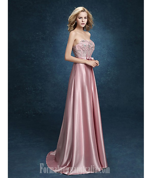 Australia Formal Dress Evening Gowns Blushing Pink Plus Sizes Dresses A-line Sweetheart Long Floor-length Stretch Satin Formal Dress Australia