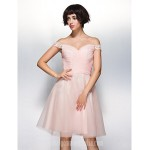 Australia Cocktail Party Dress Pearl Pink A-line Off-the-shoulder Short Knee-length Chiffon Lace Tulle Formal Dress Australia