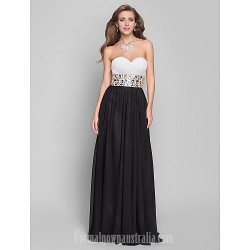 Australia Formal Evening Dress Military Ball Dress Black Plus Sizes Dresses Petite A-line Sweetheart Long Floor-length Chiffon