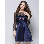 Australia Formal Dresses Cocktail Dress Party Dress Ink Blue Ball Gown Jewel Short Knee-length Cotton Polyester Formal Dress Australia