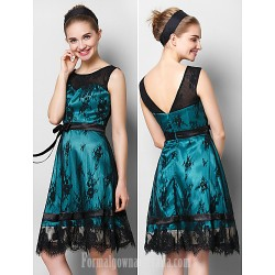 Australia Semi Formal Cocktail Dress Party Dress Black A-line Scoop Short Knee-length Lace