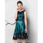 Australia Cocktail Party Dress Black A-line Scoop Short Knee-length Lace Formal Dress Australia