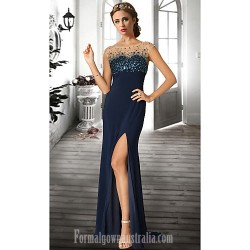 Australia Formal Dress Evening Gowns Dark Navy Ruby Ivory Plus Sizes Dresses Petite A Line Jewel Long Floor Length Chiffon