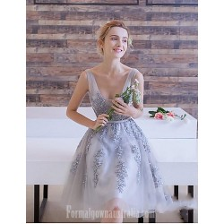 Australia Formal Dresses Cocktail Dress Party Dress Silver A Line V Neck Short Knee Length Lace Tulle