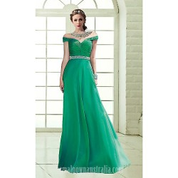 Australia Formal Dress Evening Gowns Dark Green Sky Blue Plus Sizes Dresses Petite A Line Off The Shoulder Long Floor Length Chiffon