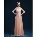 Australia Formal Dress Evening Gowns Ruby Pearl Pink A-line Jewel Long Floor-length Tulle Dress Formal Dress Australia