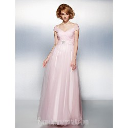 Prom Gowns Australia Formal Dress Evening Gowns Blushing Pink Plus Sizes Dresses Petite A-line Princess Off-the-shoulder Long Floor-length Tulle Dress