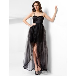 Australia Formal Dress Evening Gowns Prom Dress Black Plus Sizes Dresses Petite A-line Princess Spaghetti Straps Sweetheart Long Floor-length AsymmetricalTulle
