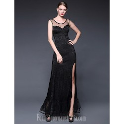 Australia Formal Dress Evening Gowns Daffodil Ruby Dark Navy Ivory A Line Scoop Long Floor Length Lace Dress Jersey