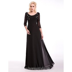Australia Formal Dress Evening Gowns Black A-line Scoop Long Floor-length Chiffon Lace Stretch Satin