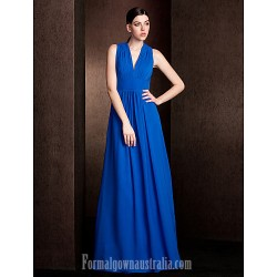 Long Floor Length Chiffon Bridesmaid Dress Royal Blue Plus Sizes Dresses Petite A Line Princess V Neck