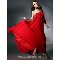 Australia Formal Evening Dress Ruby Plus Sizes Dresses Petite A-line Spaghetti Straps Long Floor-length Chiffon Charmeuse
