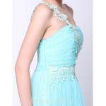 Australia Formal Dress Evening Gowns Sky Blue A-line Sexy One Shoulder Ankle-length Chiffon Formal Dress Australia