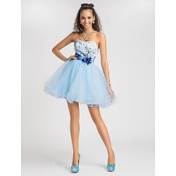 Australia Cocktail Party Dresses Prom Gowns Sweet 16 Dress Sky Blue Plus Sizes Dresses Petite Princess Ball Gown A-line Sweetheart Strapless