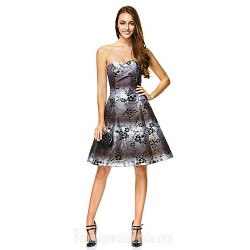 Australia Formal Dresses Cocktail Dress Party Dress Print A-line Sweetheart Short Knee-length Polyester
