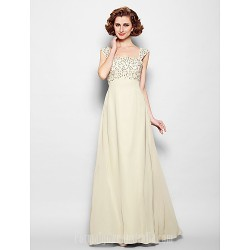 A-line Plus Sizes Dresses Petite Mother of the Bride Dress Champagne Long Floor-length Sleeveless Chiffon