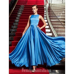 Australia Formal Dress Evening Gowns Military Ball Dress Ocean Blue Plus Sizes Dresses Petite A Line Jewel Long Floor Length Satin Chiffon