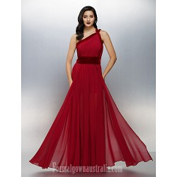 Australia Formal Dress Evening Gowns Burgundy Plus Sizes Dresses Petite A Line Sexy One Shoulder Long Floor Length Chiffon Velvet
