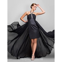 Australia Formal Evening Dress Military Ball Dress Black Plus Sizes Dresses Petite A-line Halter Asymmetrical Georgette