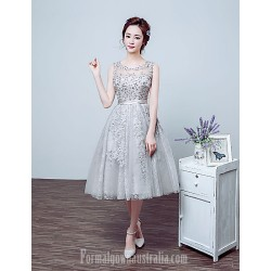 Australia Cocktail Party Dress Silver Ball Gown Jewel Tea-length Lace Tulle